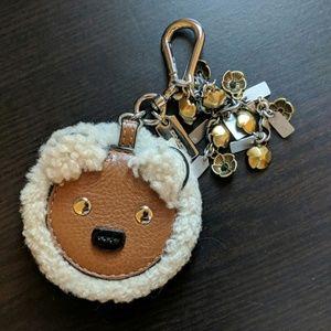 Coach bear shearling keychain